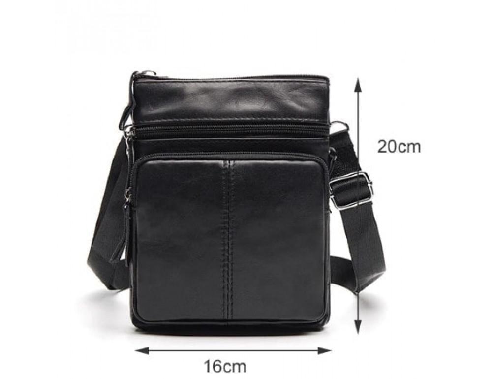 Мужская кожаная сумка-мессенджер Bexhill BX124A чёрная - Фото № 7