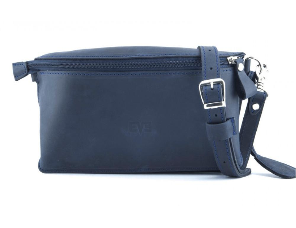Кожаная поясная сумка Level lv_vinograd_blue_ch синяя - Фото № 3