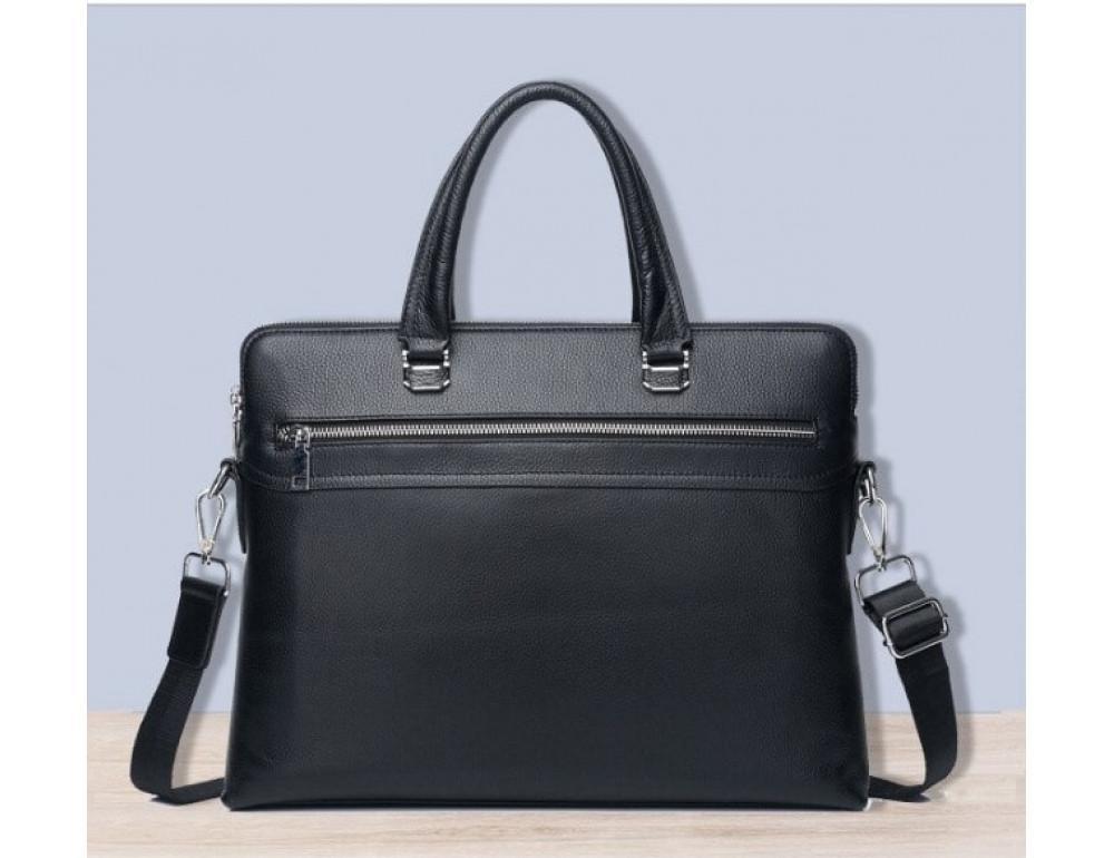 Кожаная сумка на два отделения Tiding Bag M1808-5A Чёрная