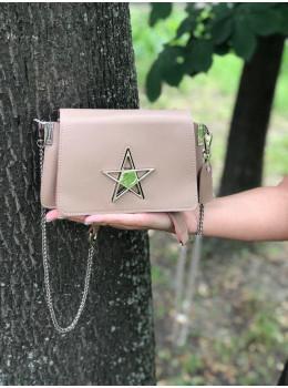 Маленькая сумочка со звёздочкой 1901Bg бежевая