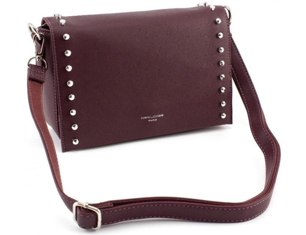 Женская прямоугольная сумка David Jones 5822-1T d.bordeaux бордовый - Фото № 4