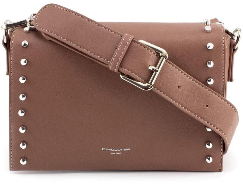Женская прямоугольная сумка David Jones 5822-1T d.pink темная пудра - Фото № 1