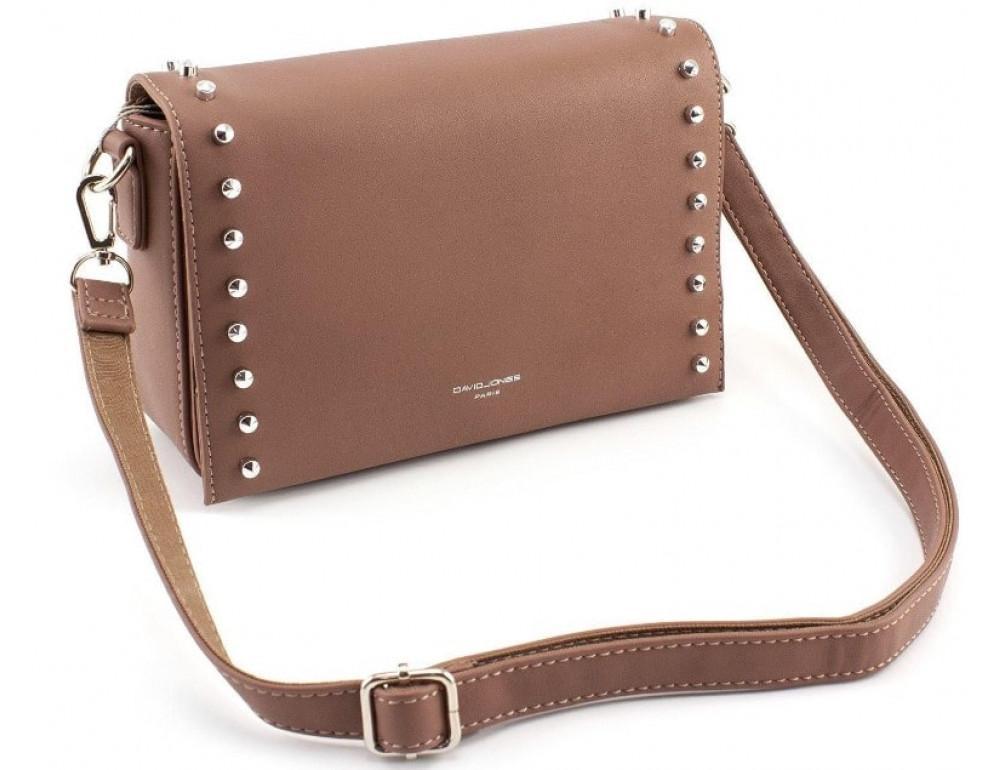Женская прямоугольная сумка David Jones 5822-1T d.pink темная пудра - Фото № 4
