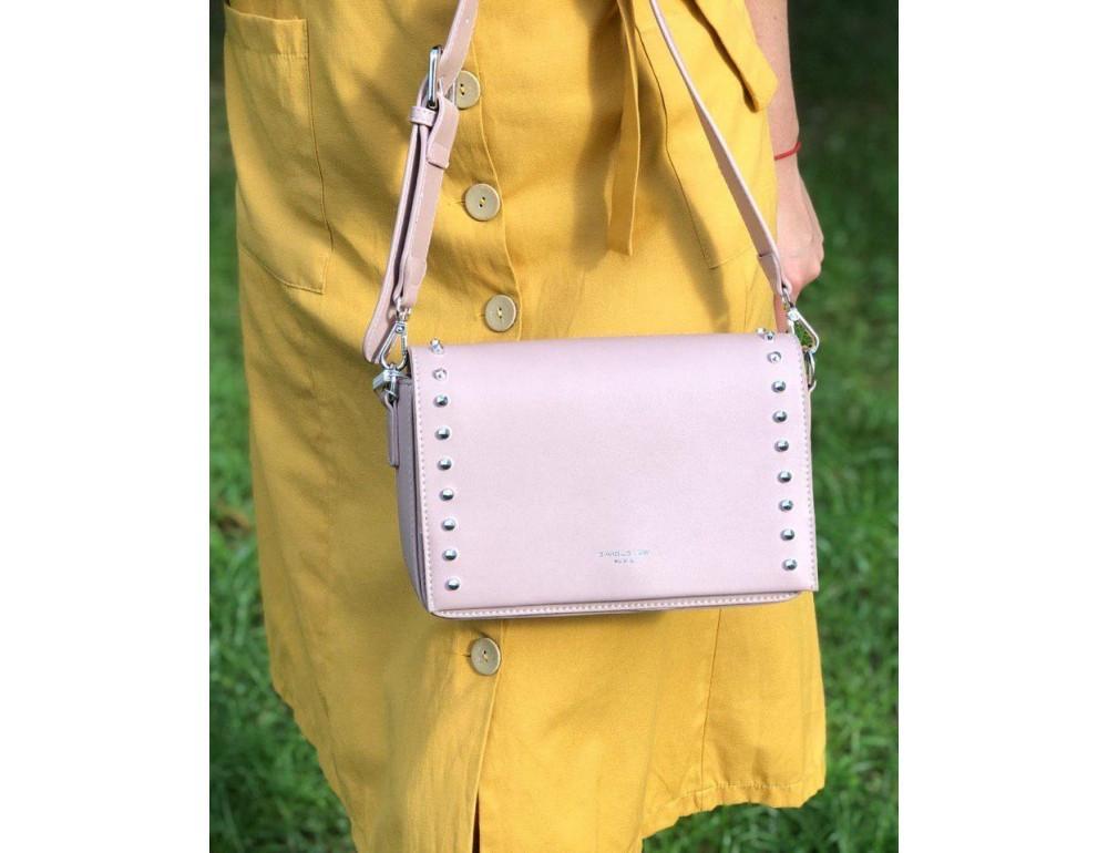 Женская прямоугольная сумка David Jones 5822-1T Pink пудровая - Фото № 2