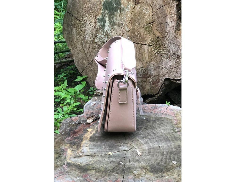 Женская прямоугольная сумка David Jones 5822-1T Pink пудровая - Фото № 4