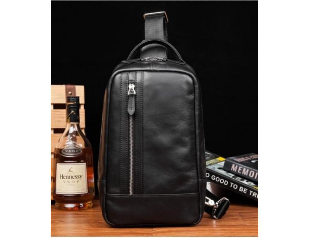 Кожаная сумка через плечо Tiding Bag B3-1725A чёрная - Фото № 2