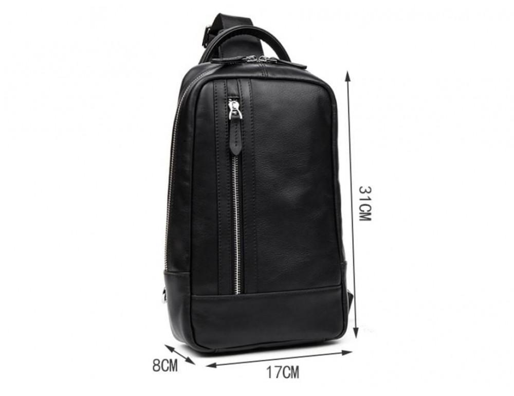 Кожаная сумка через плечо Tiding Bag B3-1725A чёрная - Фото № 11