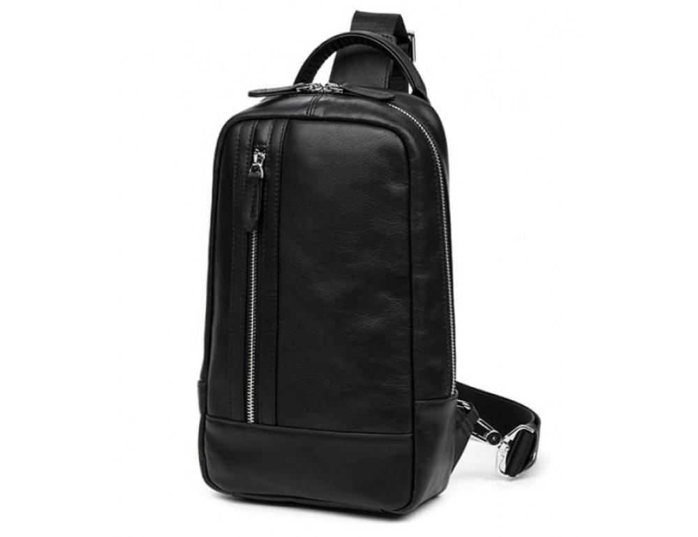 Кожаная сумка через плечо Tiding Bag B3-1725A чёрная - Фото № 1