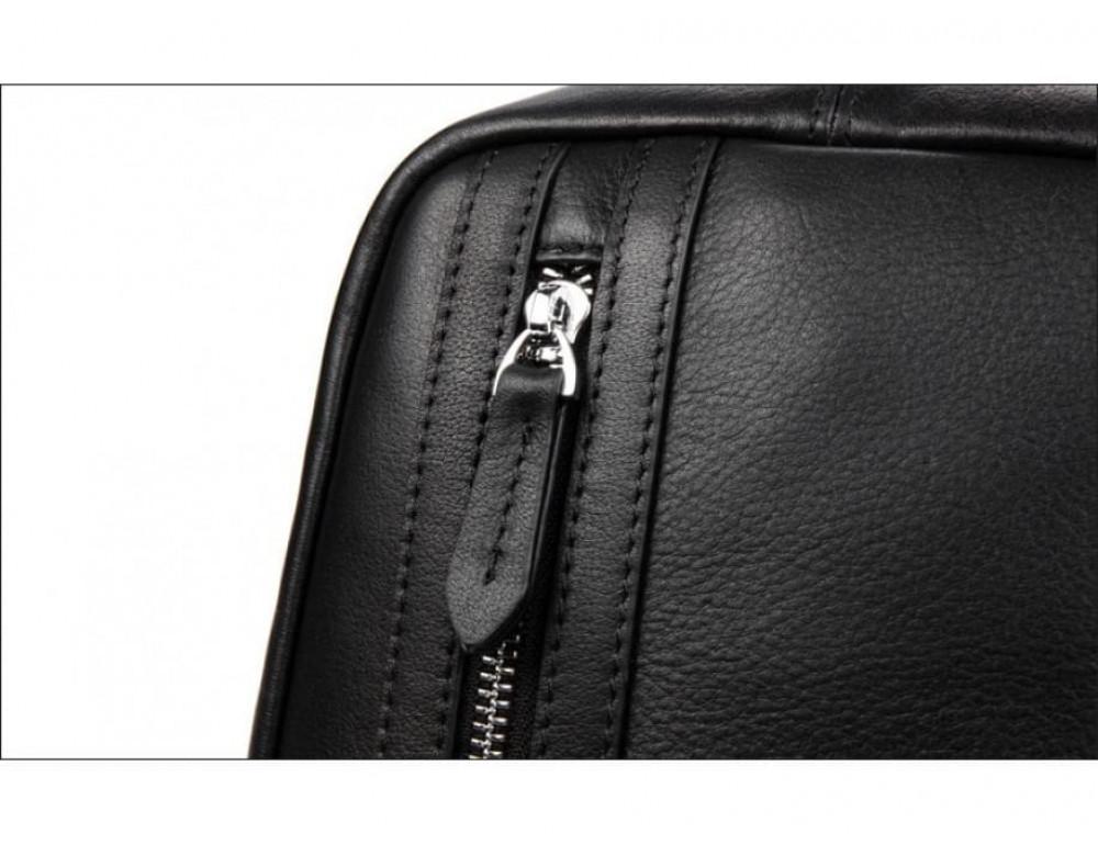 Кожаная сумка через плечо Tiding Bag B3-1725A чёрная - Фото № 12