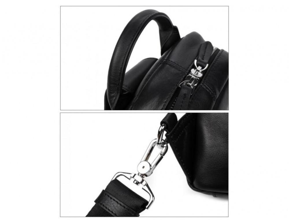 Кожаная сумка через плечо Tiding Bag B3-1725A чёрная - Фото № 13