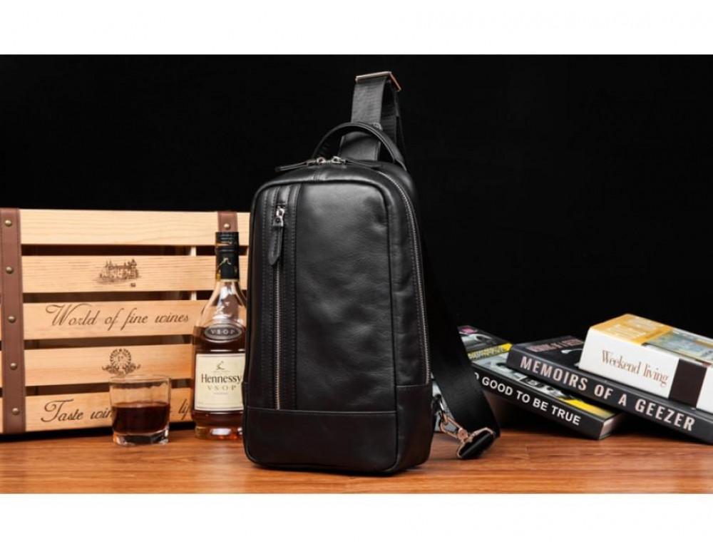 Кожаная сумка через плечо Tiding Bag B3-1725A чёрная - Фото № 14