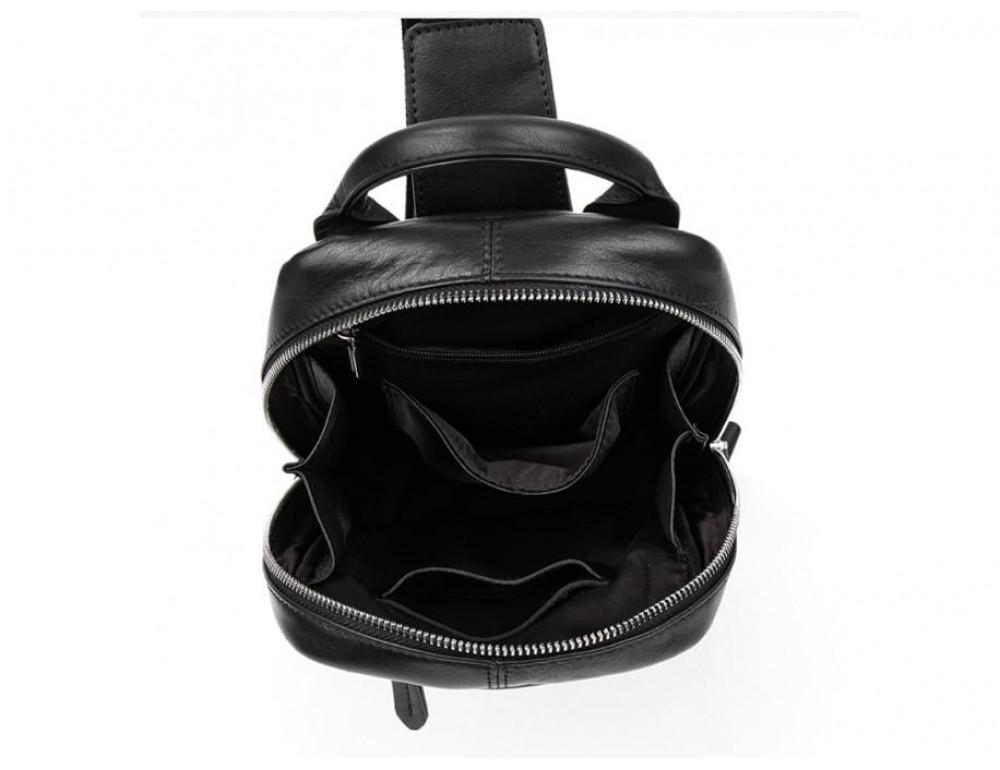 Кожаная сумка через плечо Tiding Bag B3-1725A чёрная - Фото № 3