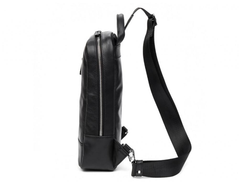 Кожаная сумка через плечо Tiding Bag B3-1725A чёрная - Фото № 4