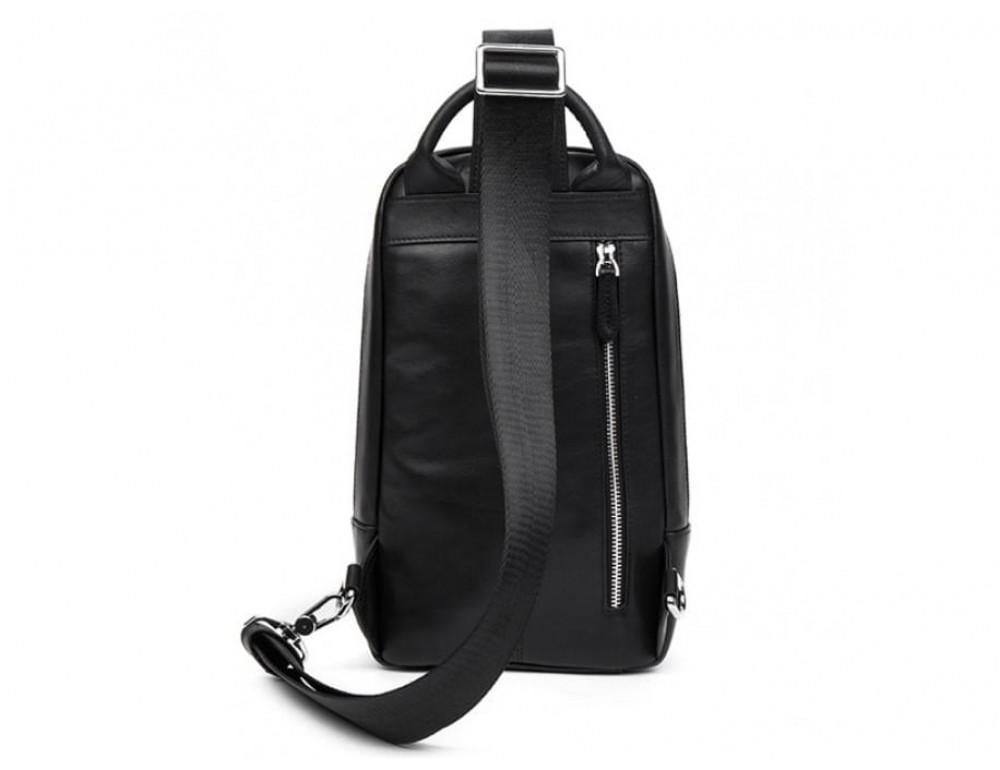 Кожаная сумка через плечо Tiding Bag B3-1725A чёрная - Фото № 5