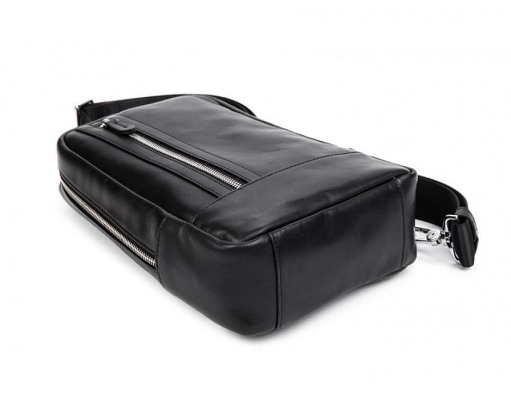 Кожаная сумка через плечо Tiding Bag B3-1725A чёрная - Фото № 6