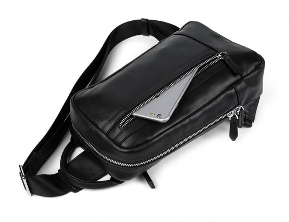 Кожаная сумка через плечо Tiding Bag B3-1725A чёрная - Фото № 7