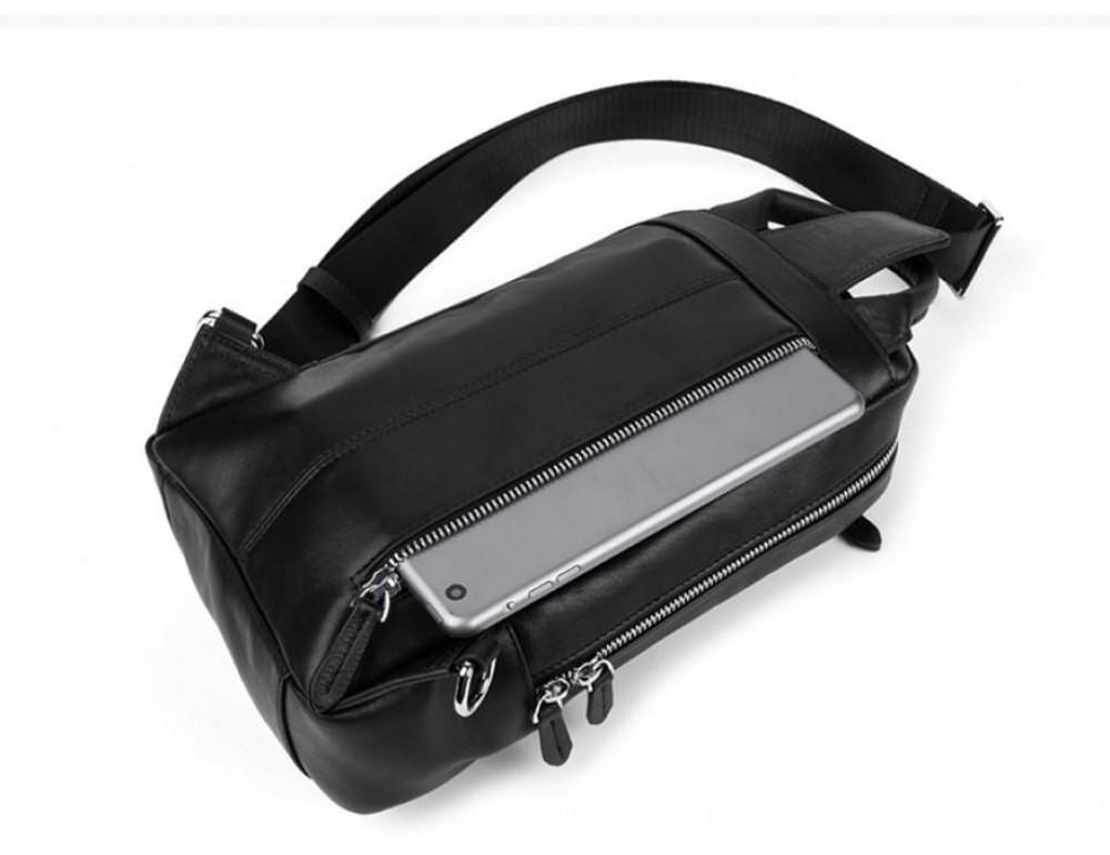 Кожаная сумка через плечо Tiding Bag B3-1725A чёрная - Фото № 8