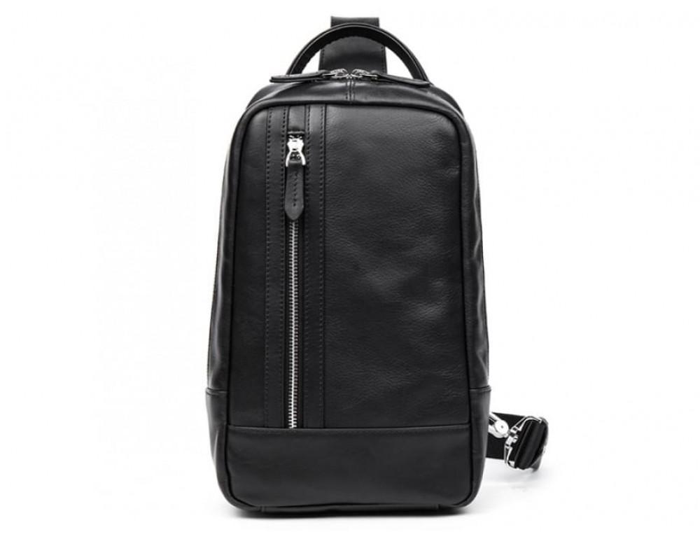 Кожаная сумка через плечо Tiding Bag B3-1725A чёрная - Фото № 9