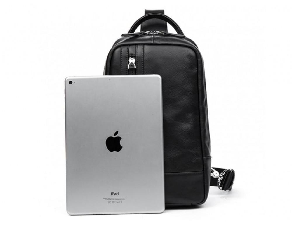 Кожаная сумка через плечо Tiding Bag B3-1725A чёрная - Фото № 10