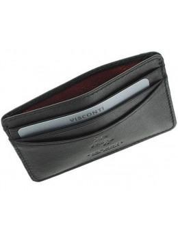 Кожаный кошелек-картхолдер VSL25 BLK с защитой чёрный