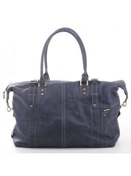 Мужская кожаная дорожная сумка Manufatto №5 крейзи хорс синяя