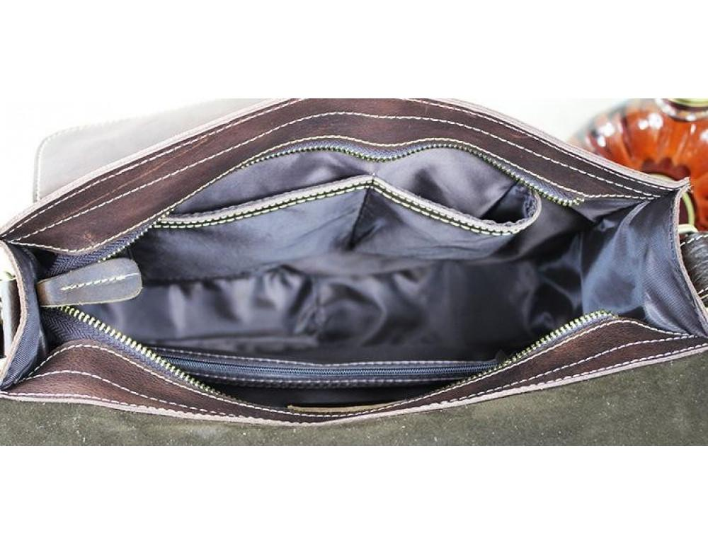 Винтажная кожаная сумка через плечо под А4 Bexhill Bx1050 коричневая - Фото № 3