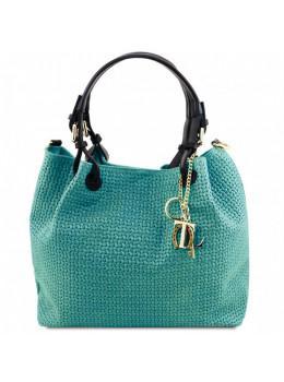 Мягкая женская кожаная сумка бирюзового цвета KEYLUCK Tuscany Leathe TL141573 turquoise