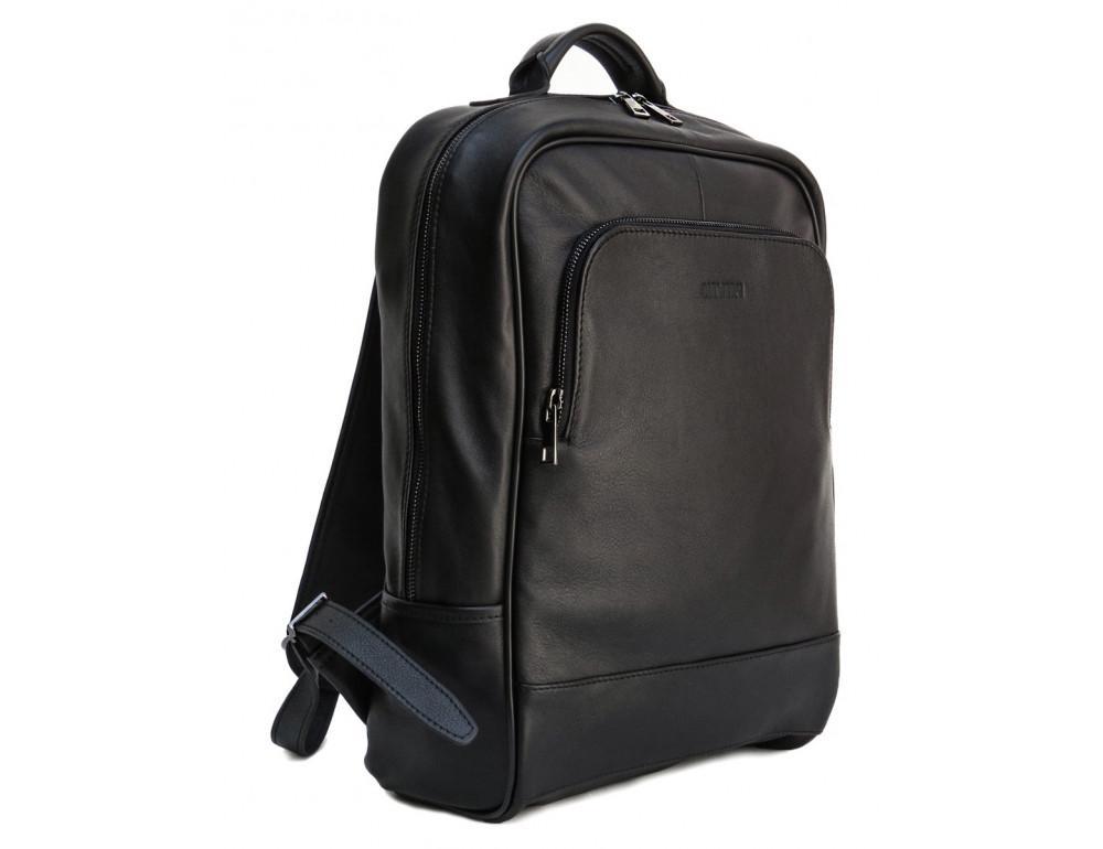 Черный молодежный кожаный рюкзак Newery N1003GA