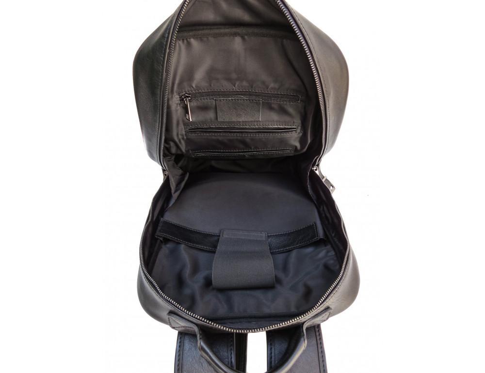 Черный молодежный кожаный рюкзак Newery N1003GA - Фото № 5