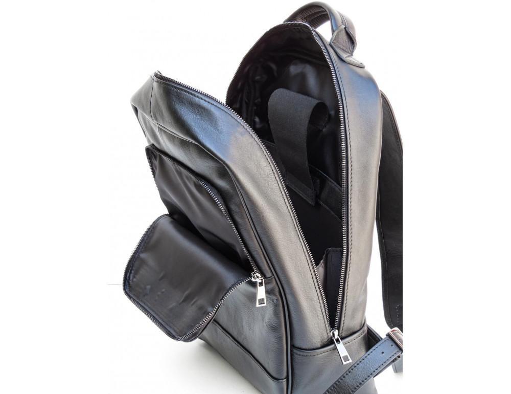 Черный молодежный кожаный рюкзак Newery N1003GA - Фото № 7