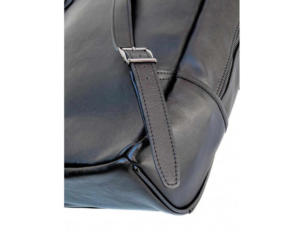Черный молодежный кожаный рюкзак Newery N1003GA - Фото № 9