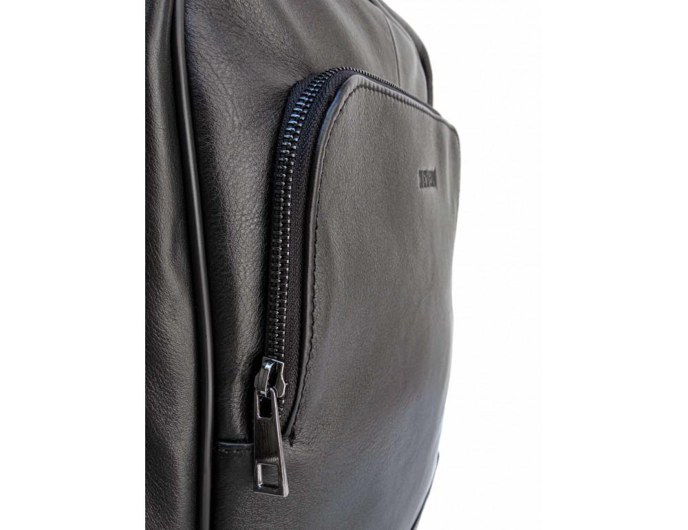Черный молодежный кожаный рюкзак Newery N1003GA - Фото № 10