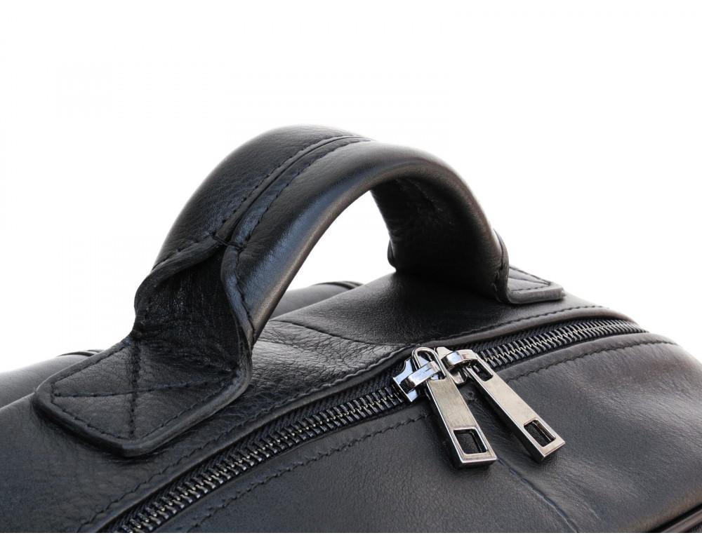 Черный молодежный кожаный рюкзак Newery N1003GA - Фото № 11