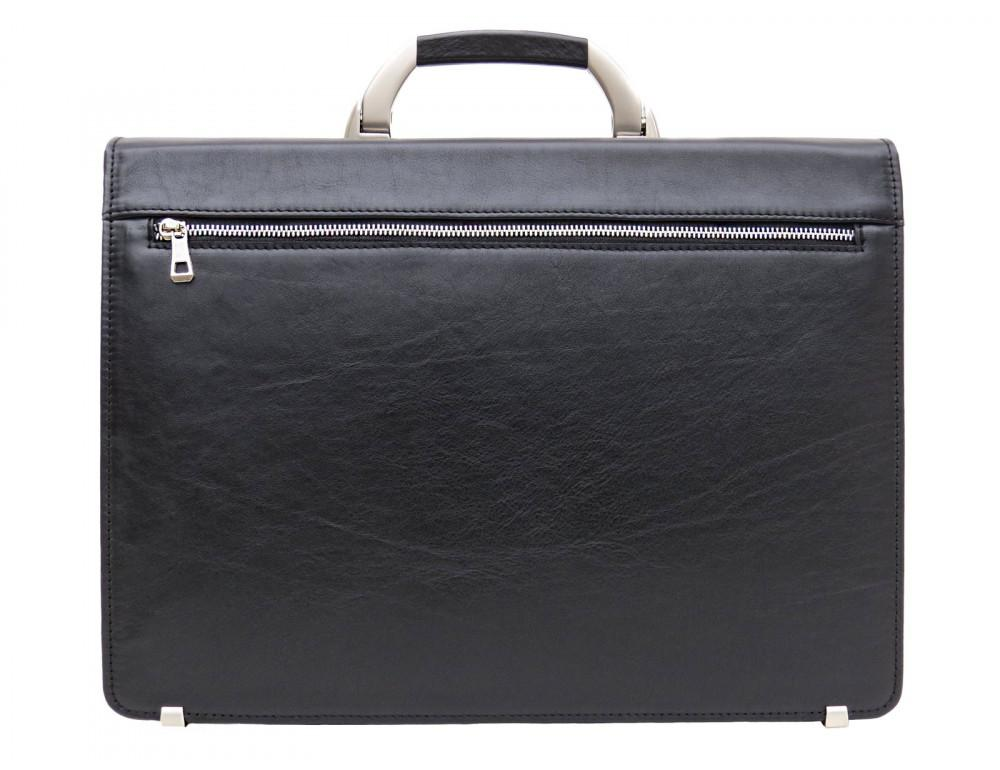 Чёрный кожаный портфель на два отделения Newery N1587GA - Фото № 2