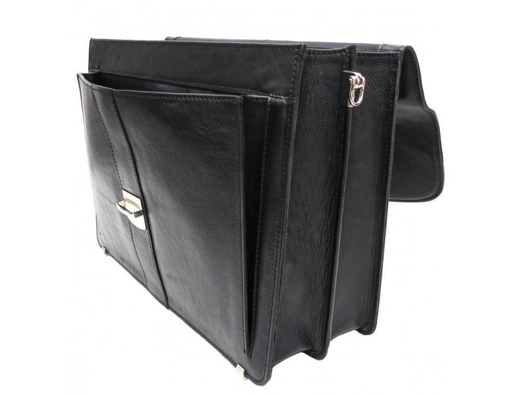 Чёрный кожаный портфель на два отделения Newery N1587GA - Фото № 3