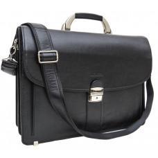 Чёрный кожаный портфель на два отделения Newery N1587GA