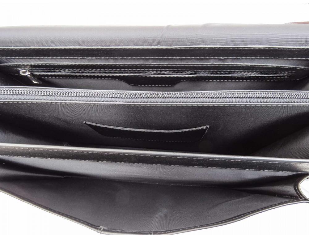 Чёрный кожаный портфель на два отделения Newery N1587GA - Фото № 8