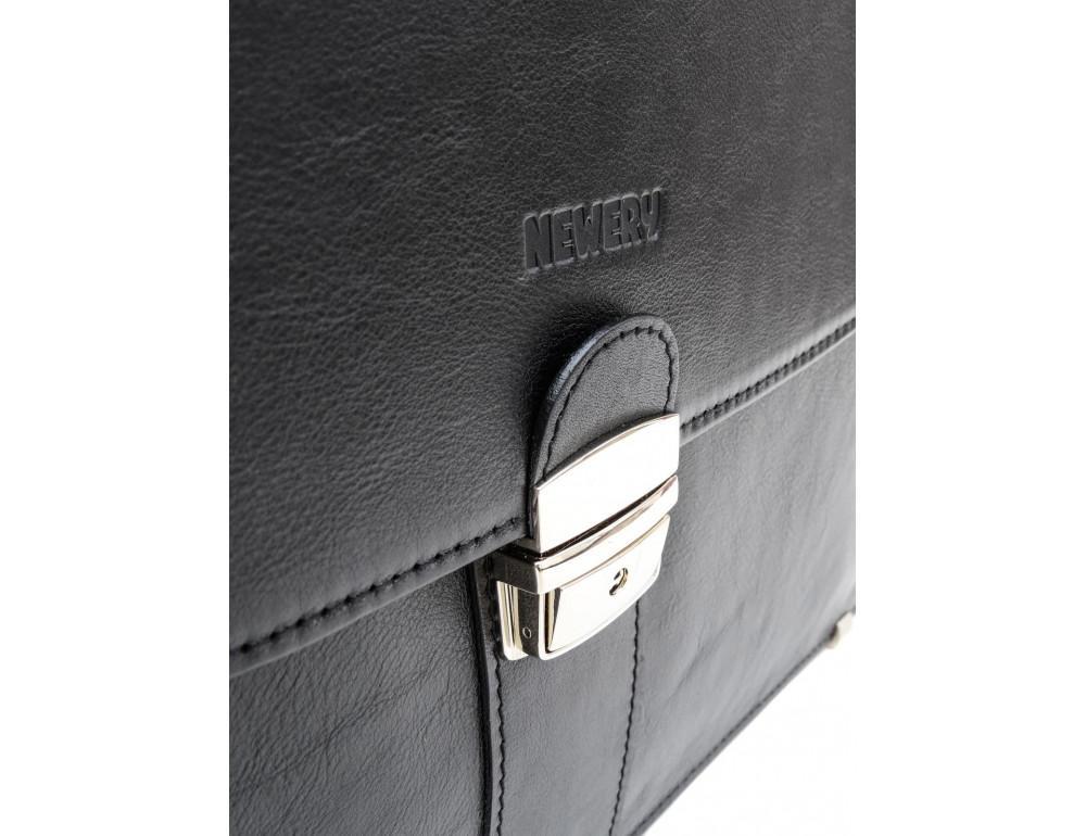 Чёрный кожаный портфель на два отделения Newery N1587GA - Фото № 9