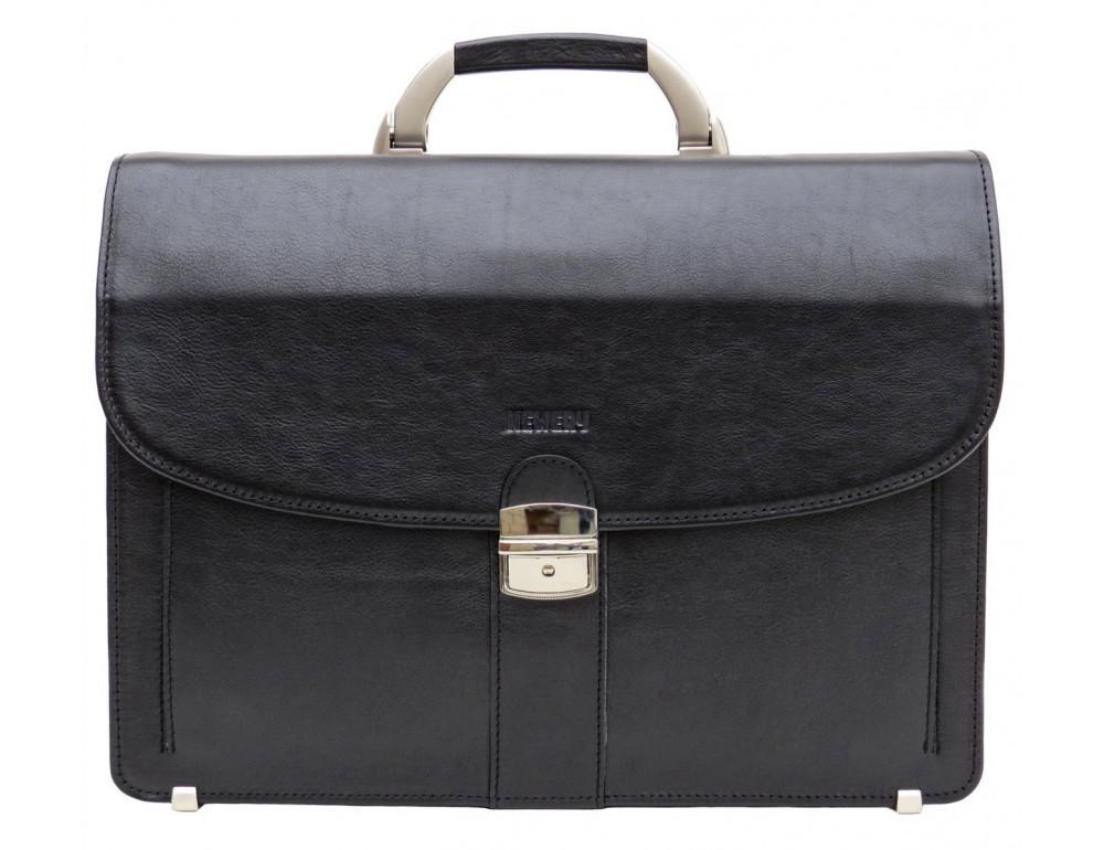 Чёрный кожаный портфель на два отделения Newery N1587GA - Фото № 11