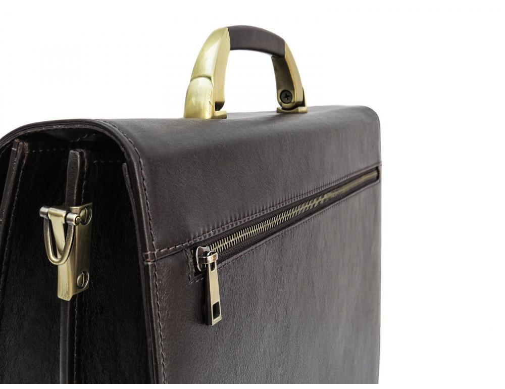 Коричневый мужской кожаный портфель Newery N1587GC - Фото № 5