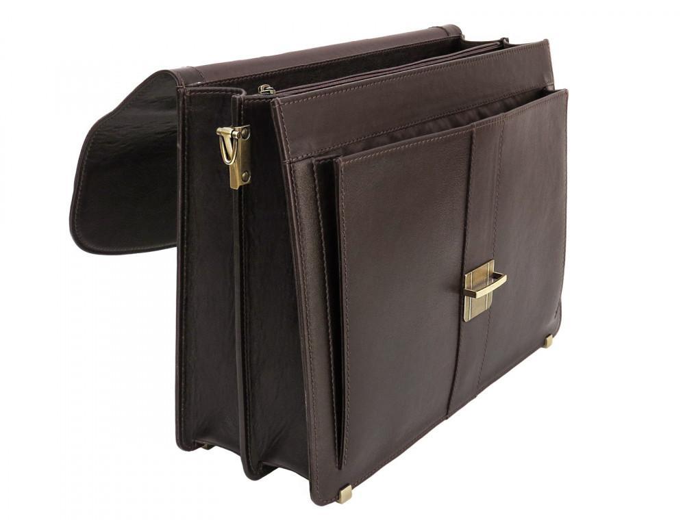 Коричневый мужской кожаный портфель Newery N1587GC - Фото № 6