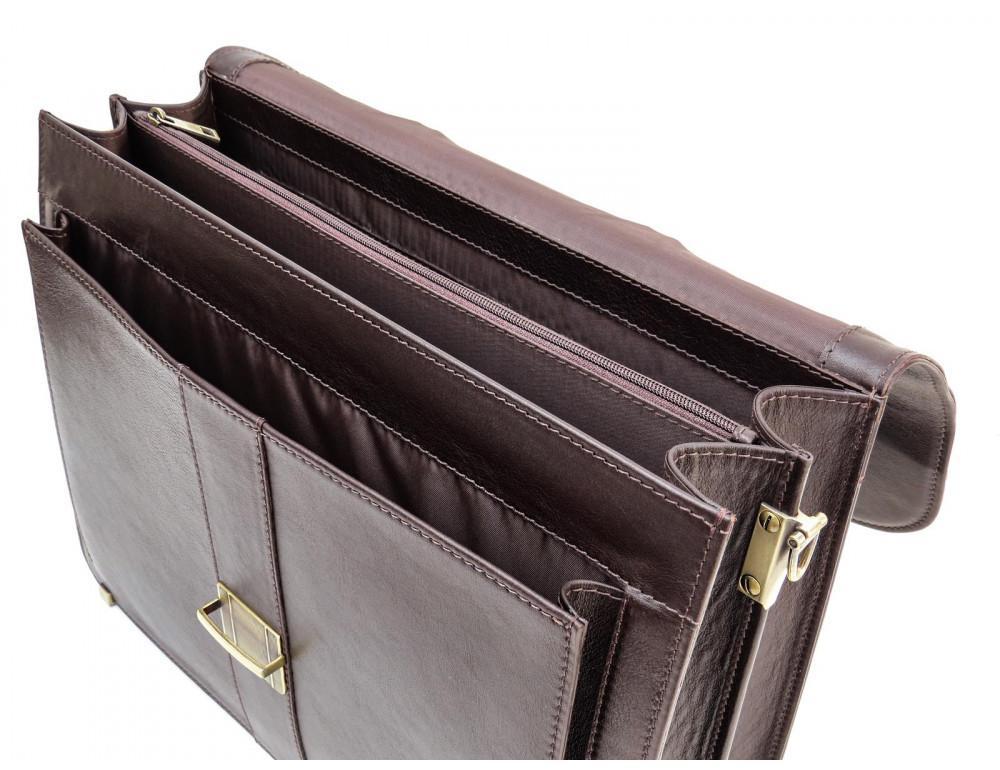 Коричневый мужской кожаный портфель Newery N1587GC - Фото № 7