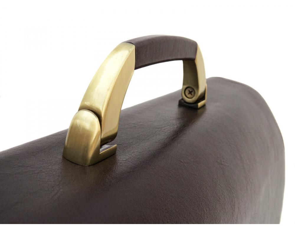 Коричневый мужской кожаный портфель Newery N1587GC - Фото № 10