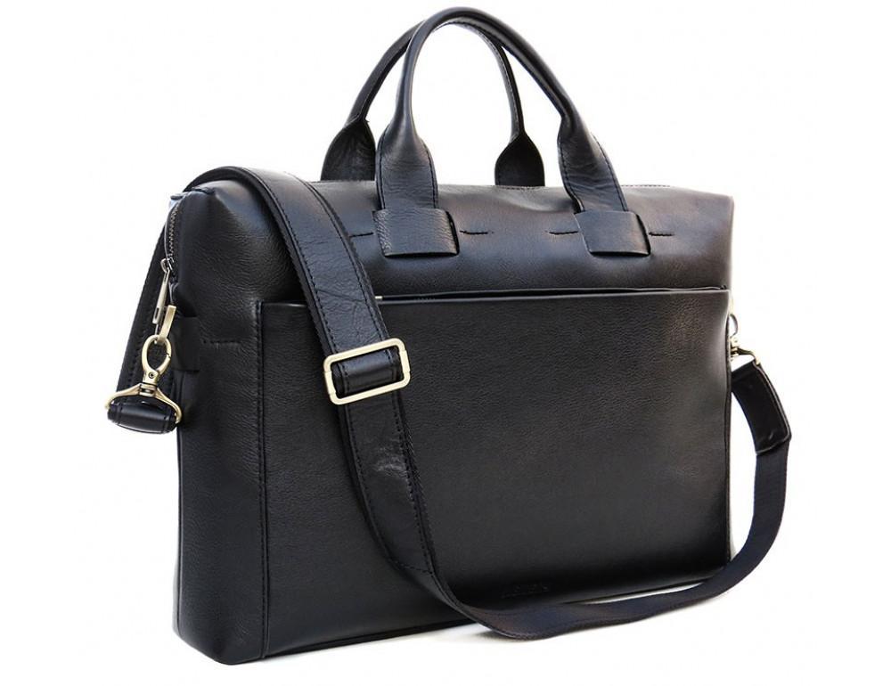 Чёрная кожаная сумка под документы и ноутбук NEWERY N1930GA