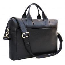 Чорна шкіряна сумка під документи і ноутбук NEWERY N1930GA