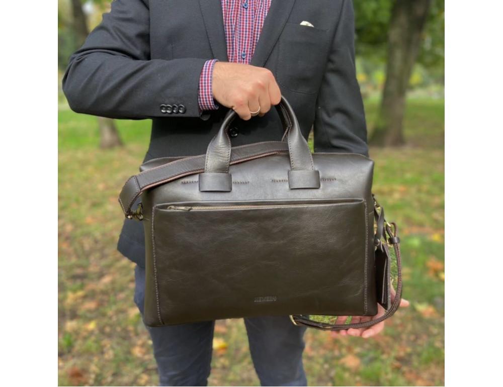 Брендовая кожаная сумка под документы NEWERY N1930GC - Фото № 2