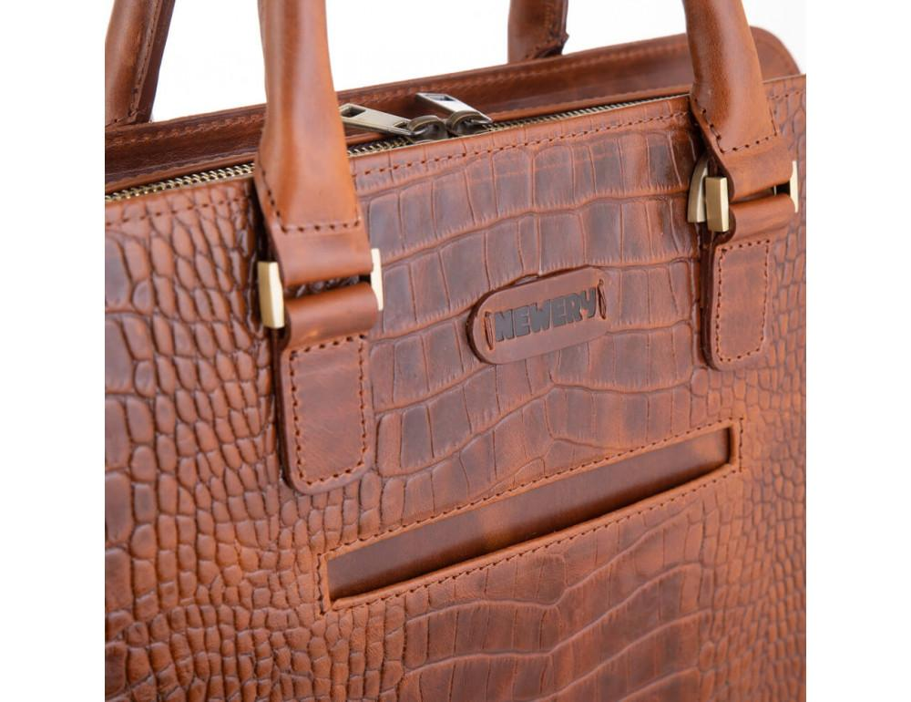 Рудий шкіряний портфель Newery N1992CRC - Фотографія № 4