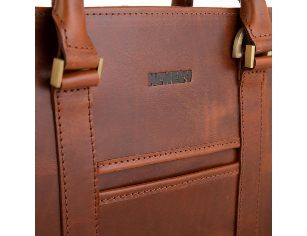 Рудий шкіряний портфель на 13 дюймів Newery N1992GC - Фотографія № 4