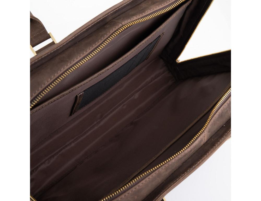 Стильный портфель из винтажной кожи коричневого цвета Newery N1992KC - Фото № 3