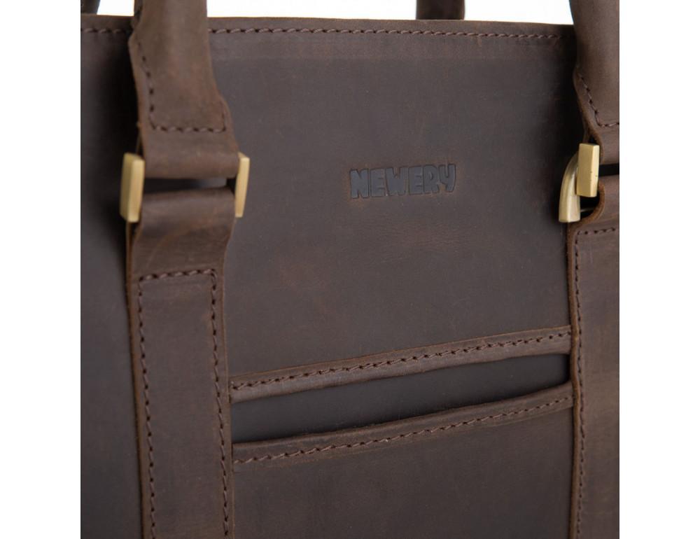 Стильный портфель из винтажной кожи коричневого цвета Newery N1992KC - Фото № 4